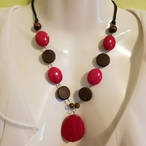 Wooden Beaded Brown Magenta Rounds Necklace